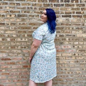Vintage 60s Plus Size Floral Dress with Pockets